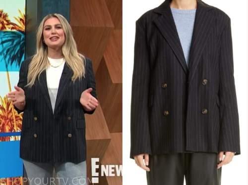carissa culiner, E! news, daily pop, black pinstripe blazer