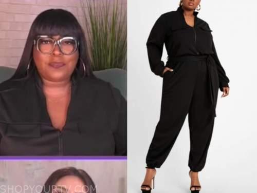 loni love, the real, black jumpsuit