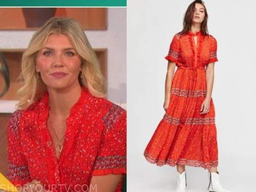 amanda kloots, the talk, red floral midi dress