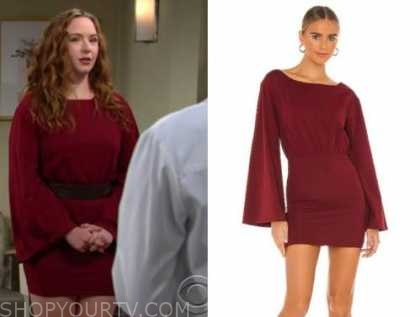 mariah copeland, camryn grimes, the young and the restless, burgundy red dress