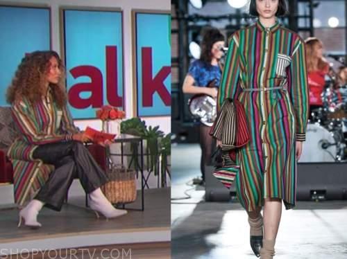 elaine welteroth, the talk, rainbow striped coat cardigan