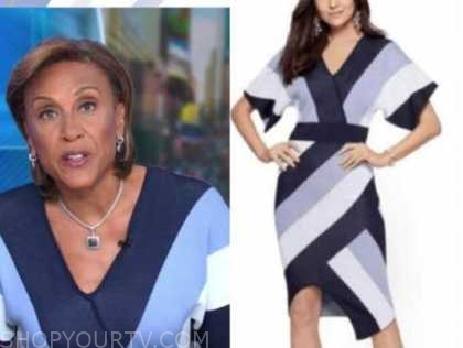 robin roberts, good morning america, blue purple striped knit dress