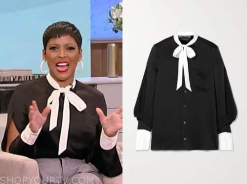tamron hall, tamron hall show, black and white tie neck split sleeve blouse