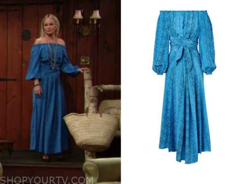 sharon newman, sharon case, blue snakeskin off-the-shoulder dress, the young and the restless