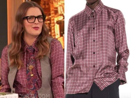 drew barrymore, drew barrymore show, burgundy geometric silk shirt