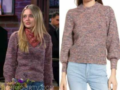 Reylynn Caster, the young and the restless, faith newman, purple sweater