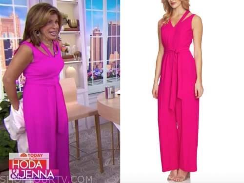 the today show, hoda kotb, hot pink cutout jumpsuit