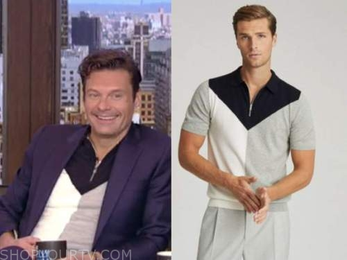 live with kelly and ryan, ryan seacrest, colorblock knit polo shirt