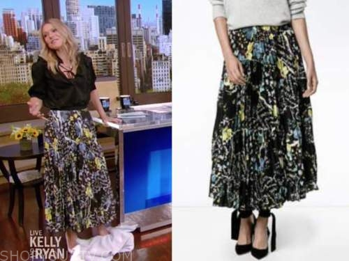 kelly ripa, live with kelly and ryan, black and yellow floral pleated skirt