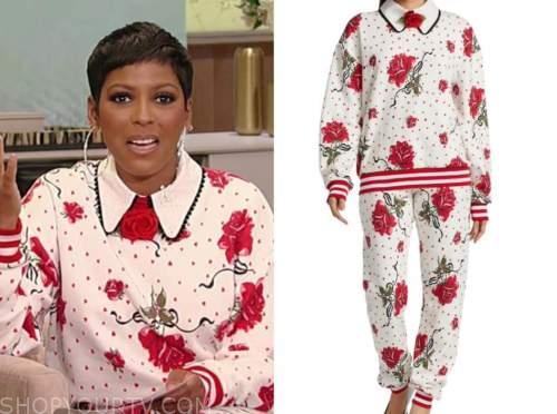tamron hall, tamron hall show, floral rose collar sweatshirt and sweatpants