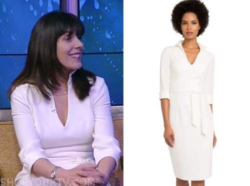 jean chatzky, live with kelly and ryan, white tie waist dress