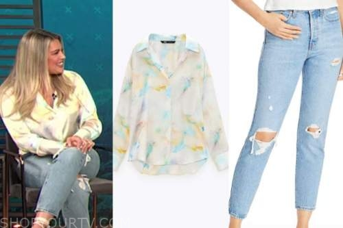carissa culiner, E! news, daily pop, tie dye blouse, ripped jeans