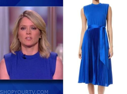 sara haines, the view, blue padded pleated dress