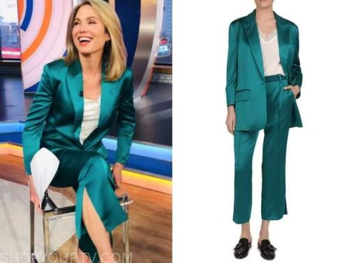 amy robach, good morning america, teal satin blazer