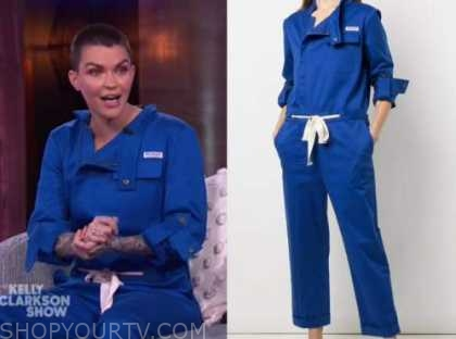 ruby rose, blue jumpsuit, the kelly clarkson show