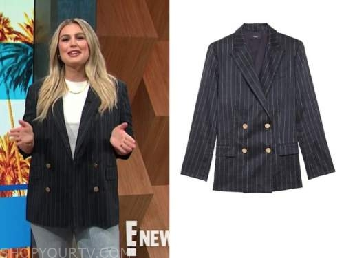 carissa culiner, e! news, daily pop, pinstripe double breasted blazer