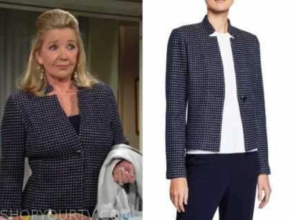 nikki newman, melody thomas scott, blue tweed jacket, the young and the restless