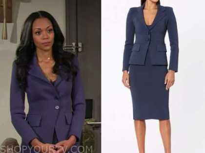 amanda sinclair, mishael morgan, the young and the restless, blue knit blazer and pencil skirt suit