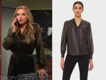 summer newman, hunter king, the young and the restless, gold metallic blouse