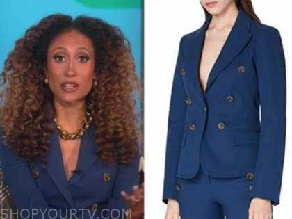 the talk, elaine welteroth, blue double breasted blazer