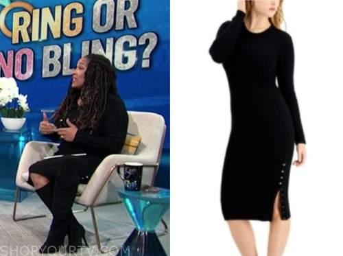 kym whitley, E! news, daily pop, black knit sweater dress