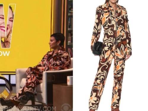 demi lovato, drew barrymore show, orange floral jumpsuit