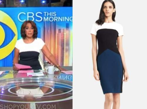 gayle king, cbs this morning, colorblock sheath dress
