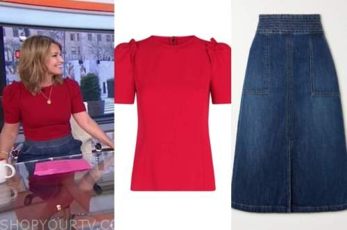 savannah guthrie, the today show, red short sleeve top, denim skirt
