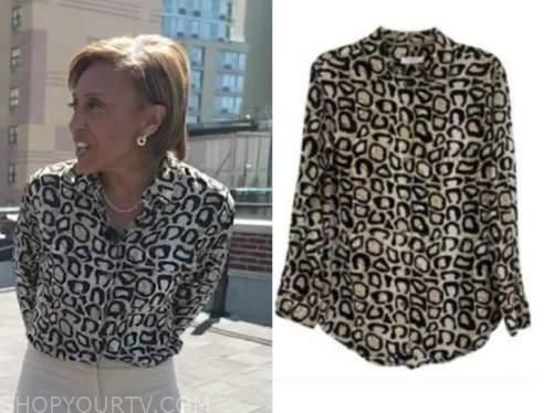 robin roberts, good morning america, leopard blouse