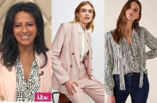 ranvir singh, lorraine, pink blazer, dot blouse