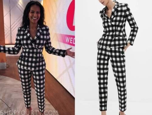 lorraine, ranvir singh, black and white check pant suit