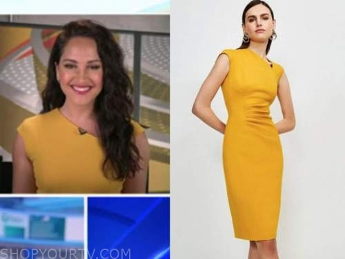 emily compagno, outnumbered, yellow asymmetric neck sheath dress