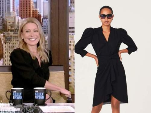 kelly ripa, live with kelly and ryan, black puff sleeve dress