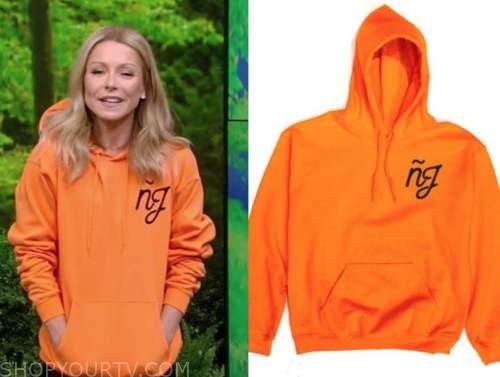 kelly ripa, live with kelly and ryan, orange NJ hoodie sweatshirt