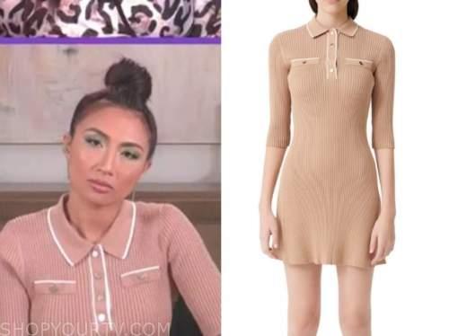 jeannie mai, the real, beige knit contrast trim polo dress