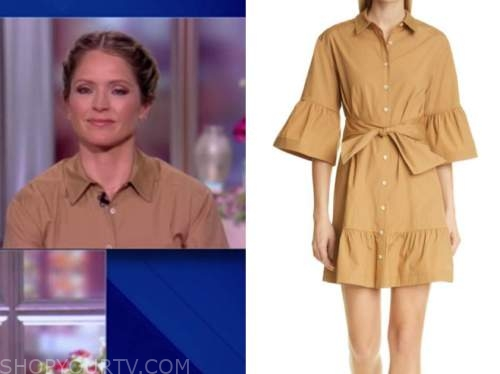 sara haines, the view, beige khaki shirt dress