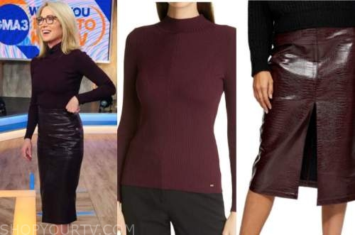 amy robach, good morning america, burgundy mock neck sweater, burgundy pencil skirt