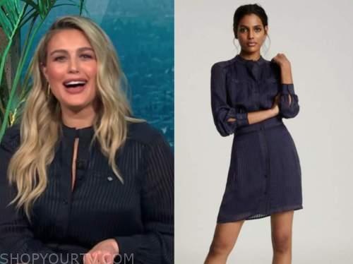 carissa culiner, E! news, daily pop, navy blue shirt dress