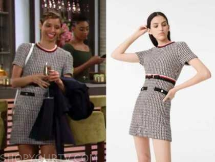 elena dawson, brytni sarpy, the young and the restless, tweed contrast trim dress