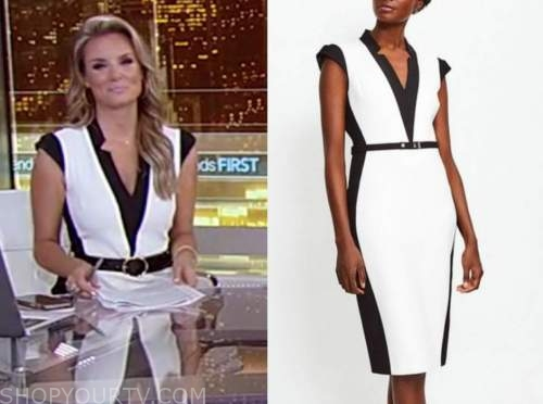 jillian mele, fox and friends, black and white colorblock dress