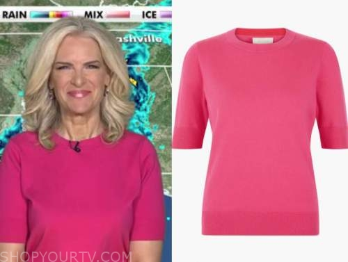 janice dean, fox and friends, pink short sleeve sweater