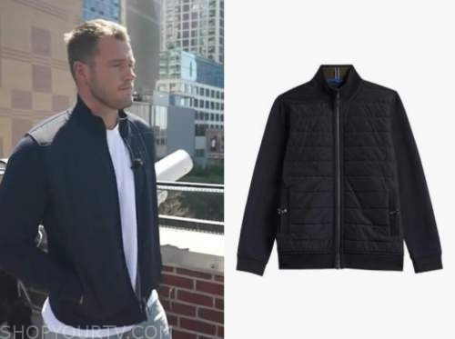 colton underwood, good morning america, navy blue quilted jacket