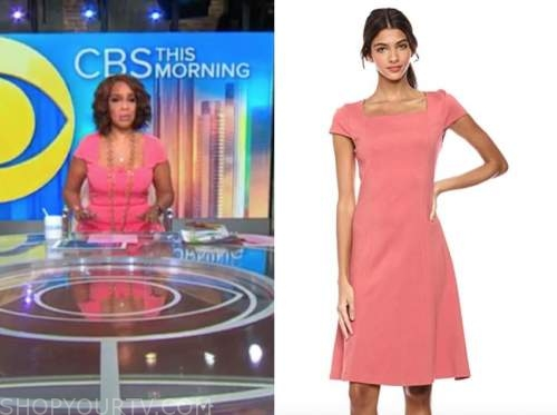 gayle king, cbs this morning, pink square neck dress
