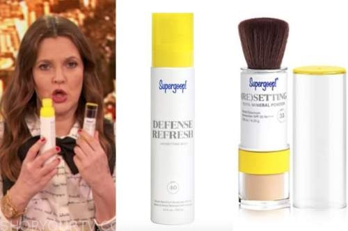 drew barrymore, drew barrymore show, sunscreen setting spray and spf powder