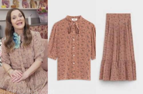 drew barrymore, drew barrymore show, pink floral top and skirt