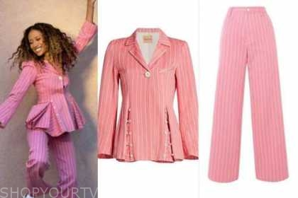 elaine welteroth, the talk, pink striped blazer and pant suit