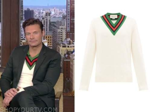 live with kelly and ryan, ryan seacrest, white contrast trim v-neck sweater