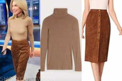 amy robach, good morning america, tan turtleneck, brown suede skirt