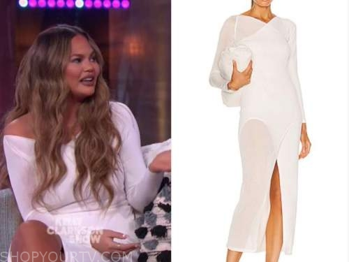chrissy teigen, the kelly clarkson show, white sheer midi dress