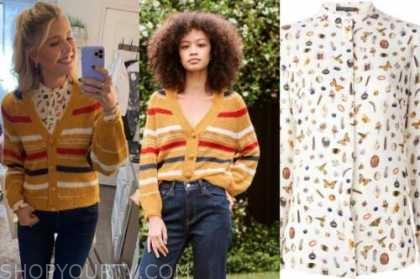 amanda kloots, the talk, yellow striped cardigan sweater, butterfly shirt